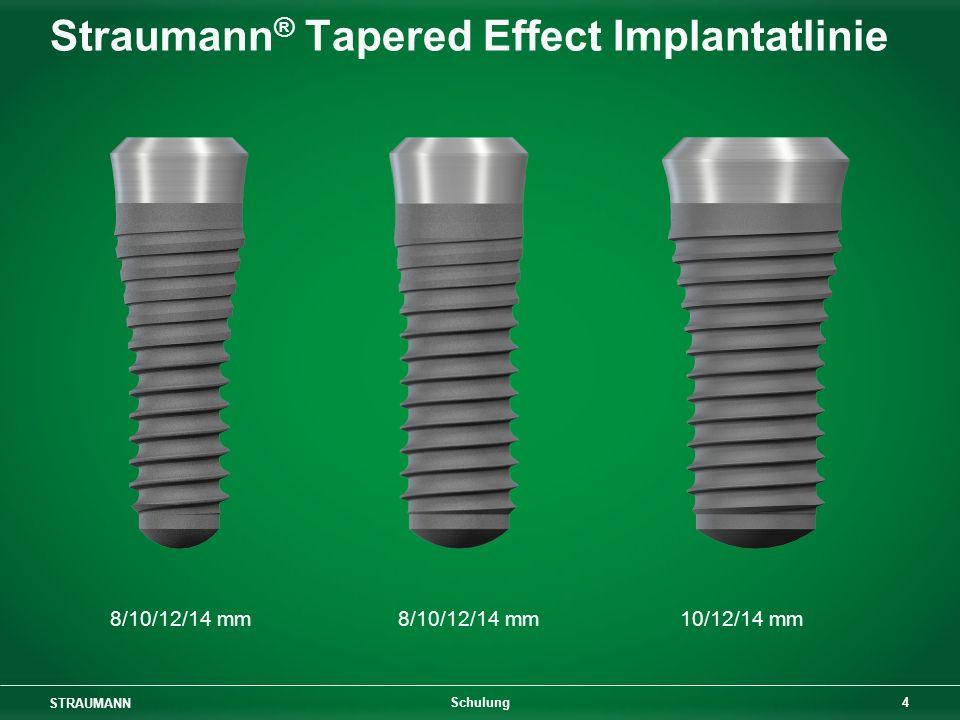 STRAUMANN 15 Schulung Straumann ® Tapered Effect Implantat: Geometrie Sek.-Stabilität: Konus im Hals- bereich für glatten Kontakt oder Alveolar- Approximation Primärstabilität: Gewinde im zylindrischen apikalen Teil