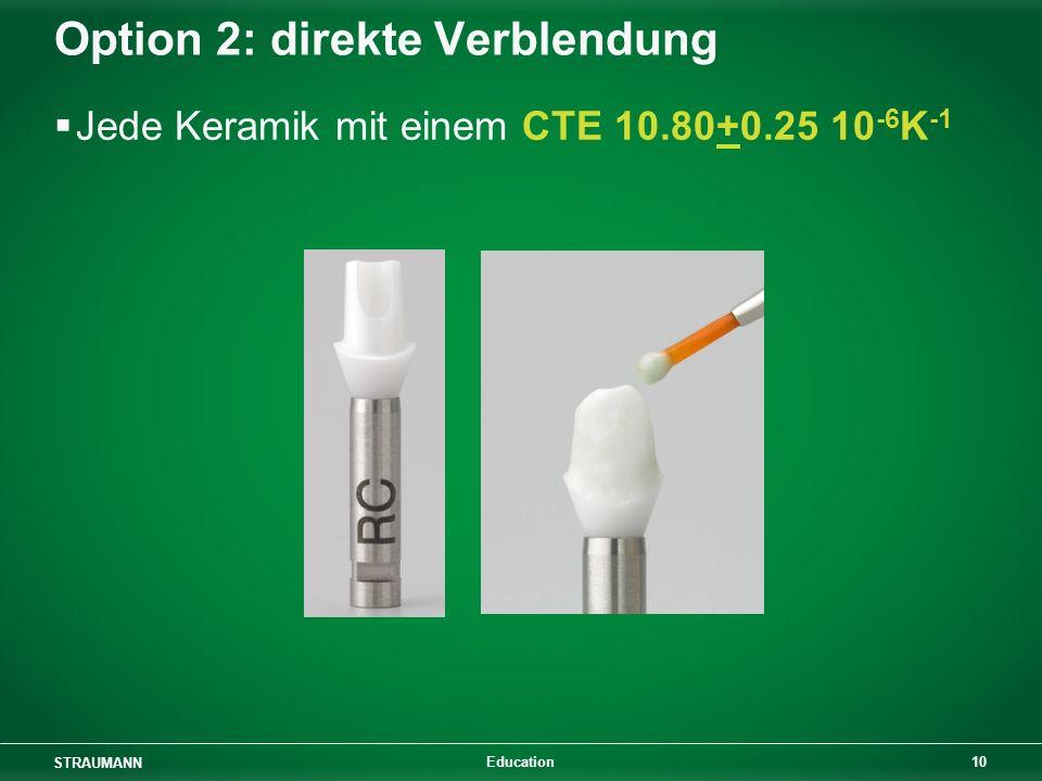 STRAUMANN 10 Education Option 2: direkte Verblendung Jede Keramik mit einem CTE 10.80+0.25 10 -6 K -1