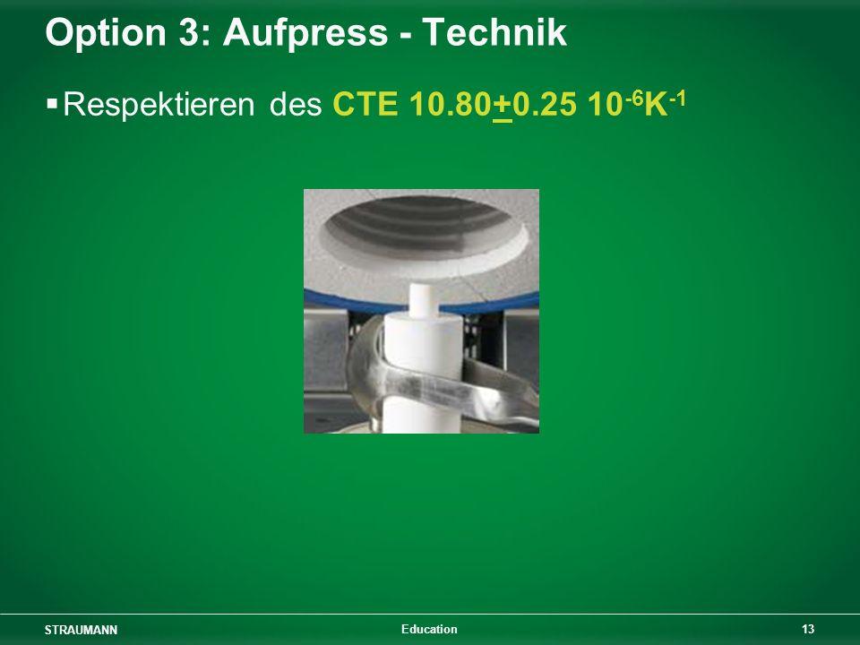 STRAUMANN 13 Education Option 3: Aufpress - Technik Respektieren des CTE 10.80+0.25 10 -6 K -1