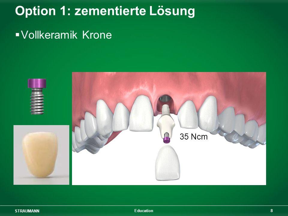 STRAUMANN 8 Education Option 1: zementierte Lösung Vollkeramik Krone 35 Ncm