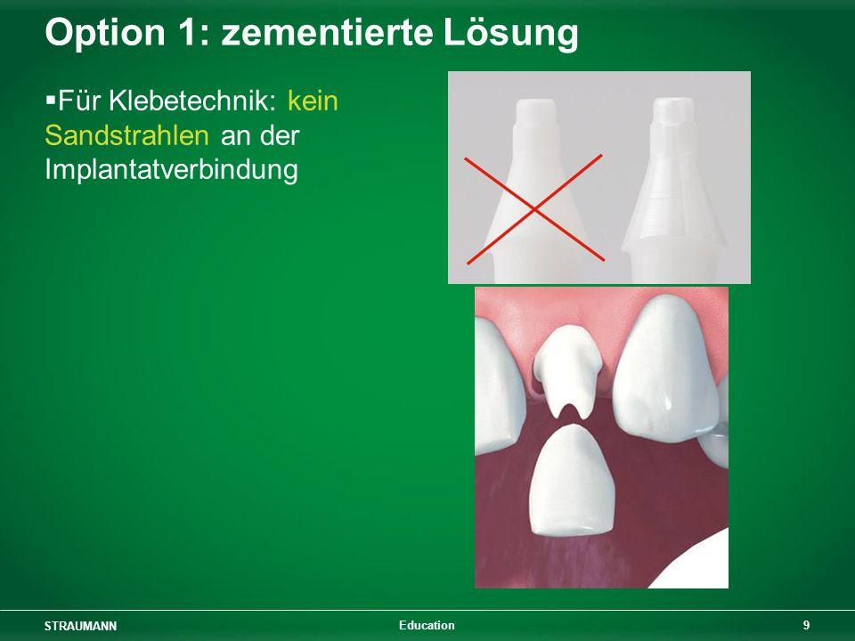 STRAUMANN 9 Education Option 1: zementierte Lösung Für Klebetechnik: kein Sandstrahlen an der Implantatverbindung