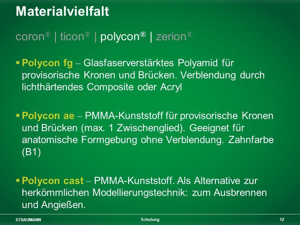 STRAUMANN 12 Schulung Materialvielfalt coron ® | ticon ® | polycon ® | zerion ® Polycon fg – Glasfaserverstärktes Polyamid für provisorische Kronen un