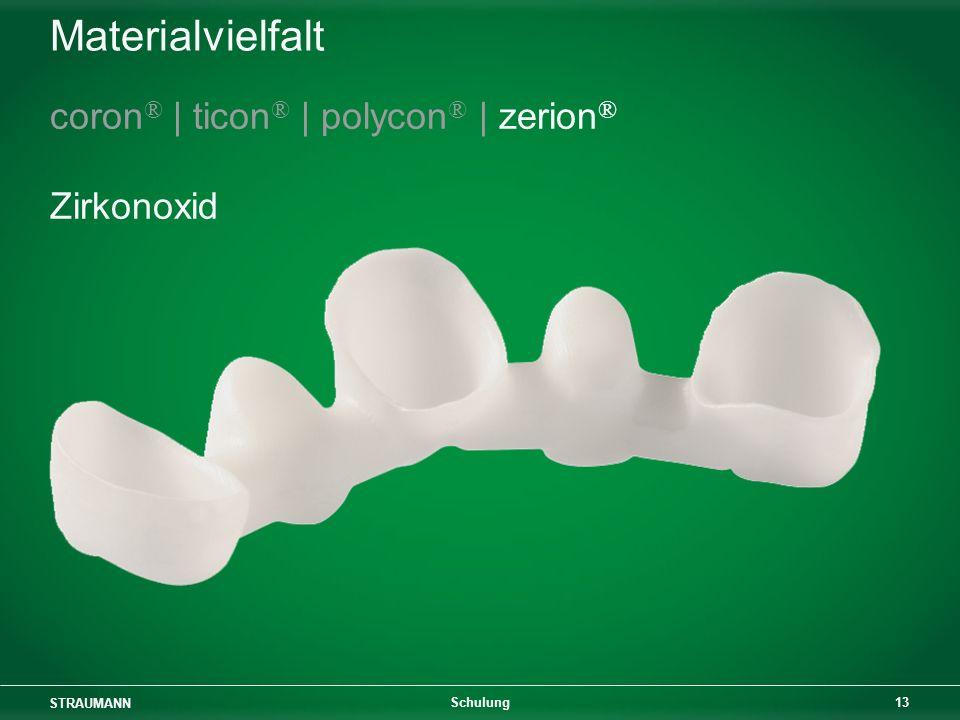STRAUMANN 13 Schulung Materialvielfalt coron ® | ticon ® | polycon ® | zerion ® Zirkonoxid