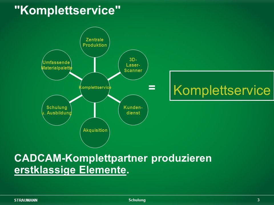 STRAUMANN 3 Schulung Komplettservice CADCAM-Komplettpartner produzieren erstklassige Elemente.