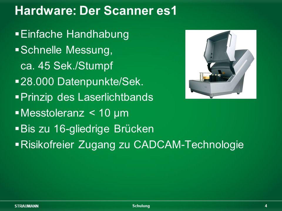 STRAUMANN 4 Schulung Hardware: Der Scanner es1 Einfache Handhabung Schnelle Messung, ca. 45 Sek./Stumpf 28.000 Datenpunkte/Sek. Prinzip des Laserlicht