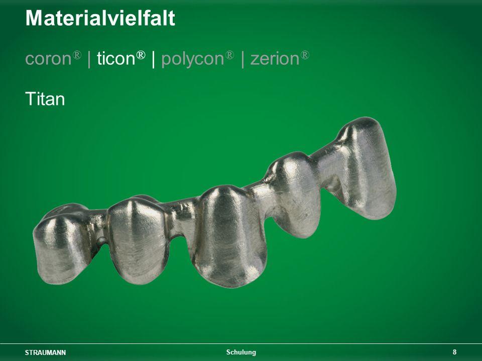 STRAUMANN 8 Schulung Materialvielfalt coron ® | ticon ® | polycon ® | zerion ® Titan
