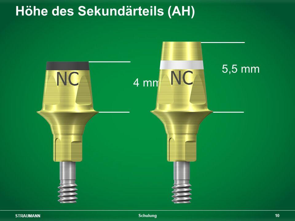 STRAUMANN 10 Schulung Höhe des Sekundärteils (AH) 5,5 mm 4 mm
