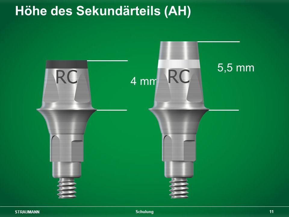 STRAUMANN 11 Schulung Höhe des Sekundärteils (AH) 5,5 mm 4 mm