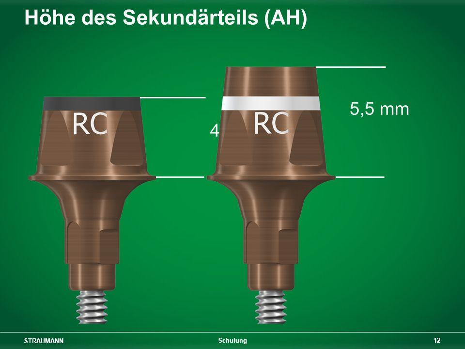 STRAUMANN 12 Schulung Höhe des Sekundärteils (AH) 5,5 mm 4 mm