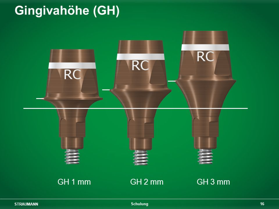 STRAUMANN 16 Schulung Gingivahöhe (GH) GH 1 mmGH 2 mmGH 3 mm