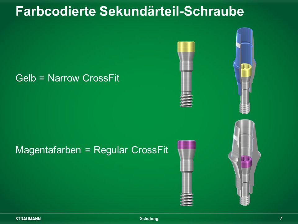 STRAUMANN 7 Schulung Farbcodierte Sekundärteil-Schraube Gelb = Narrow CrossFit Magentafarben = Regular CrossFit