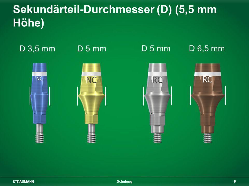 STRAUMANN 8 Schulung Sekundärteil-Durchmesser (D) (5,5 mm Höhe) D 5 mmD 6,5 mm D 3,5 mmD 5 mm