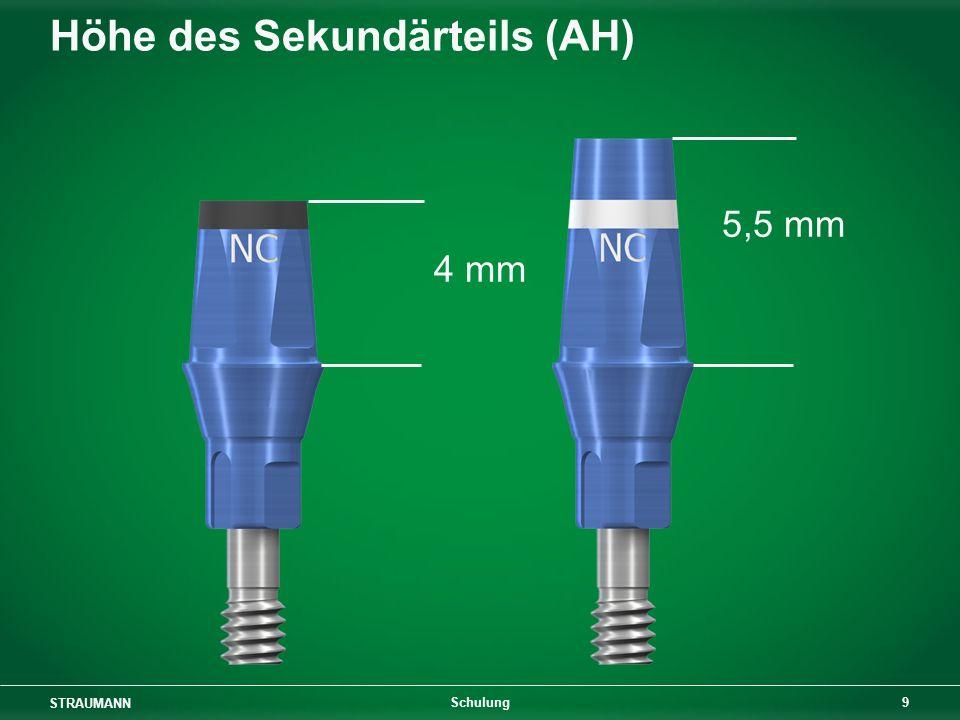 STRAUMANN 9 Schulung Höhe des Sekundärteils (AH) 5,5 mm 4 mm