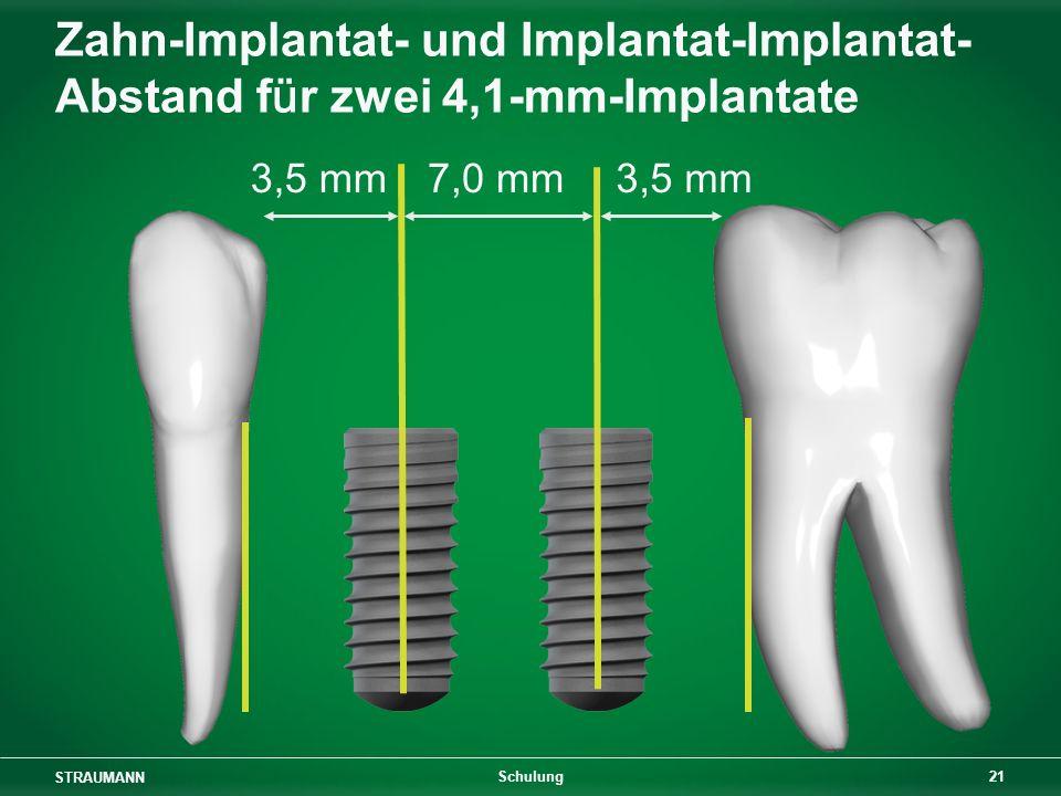 STRAUMANN 21 Schulung Zahn-Implantat- und Implantat-Implantat- Abstand für zwei 4,1-mm-Implantate 3,5 mm 7,0 mm