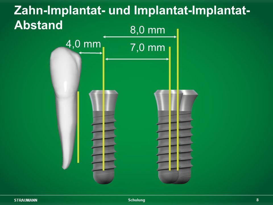 STRAUMANN 9 Schulung 4,0 mm 7,0 mm 8,0 mm Zahn-Implantat- und Implantat-Implantat- Abstand