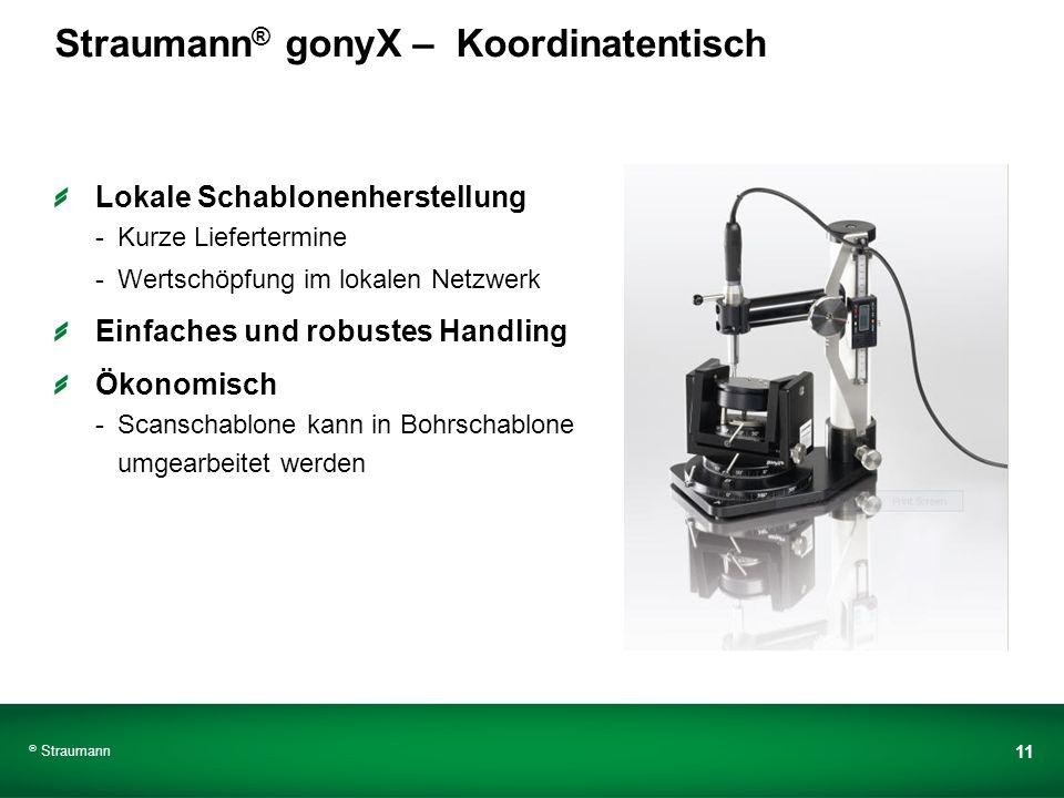 Straumann 11 Straumann ® gonyX – Koordinatentisch Lokale Schablonenherstellung -Kurze Liefertermine -Wertschöpfung im lokalen Netzwerk Einfaches und r
