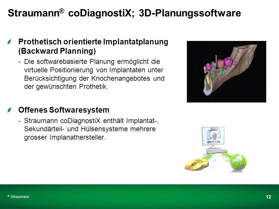 Straumann 12 Straumann ® coDiagnostiX; 3D-Planungssoftware Prothetisch orientierte Implantatplanung (Backward Planning) -Die softwarebasierte Planung