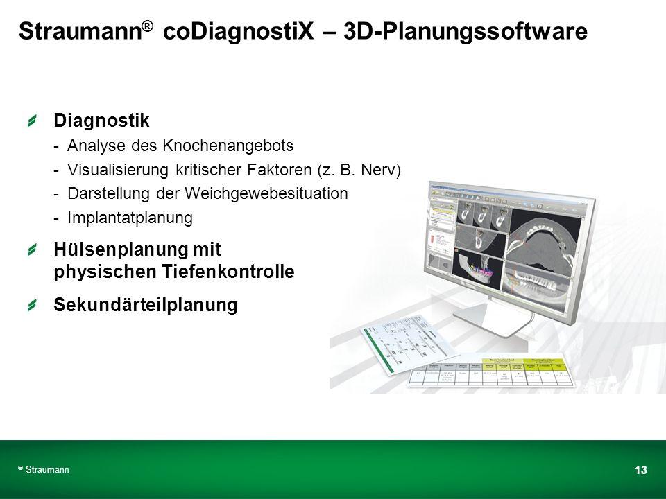 Straumann 13 Straumann ® coDiagnostiX – 3D-Planungssoftware Diagnostik -Analyse des Knochenangebots -Visualisierung kritischer Faktoren (z. B. Nerv) -