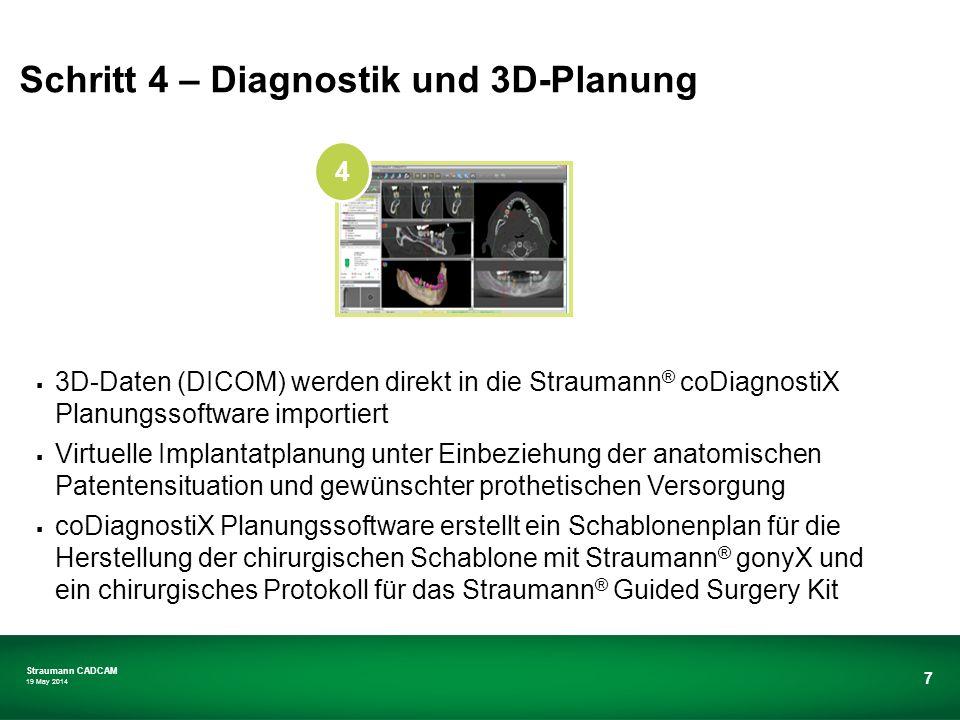 Straumann CADCAM 19 May 2014 7 3D-Daten (DICOM) werden direkt in die Straumann ® coDiagnostiX Planungssoftware importiert Virtuelle Implantatplanung u