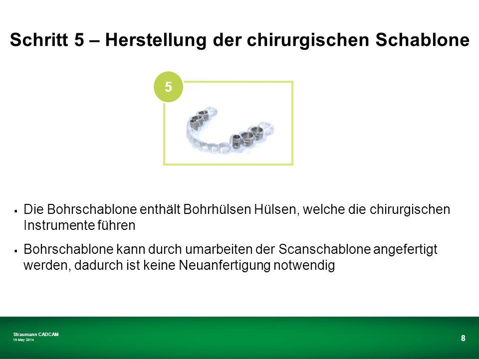 Straumann CADCAM 19 May 2014 8 Die Bohrschablone enthält Bohrhülsen Hülsen, welche die chirurgischen Instrumente führen Bohrschablone kann durch umarb
