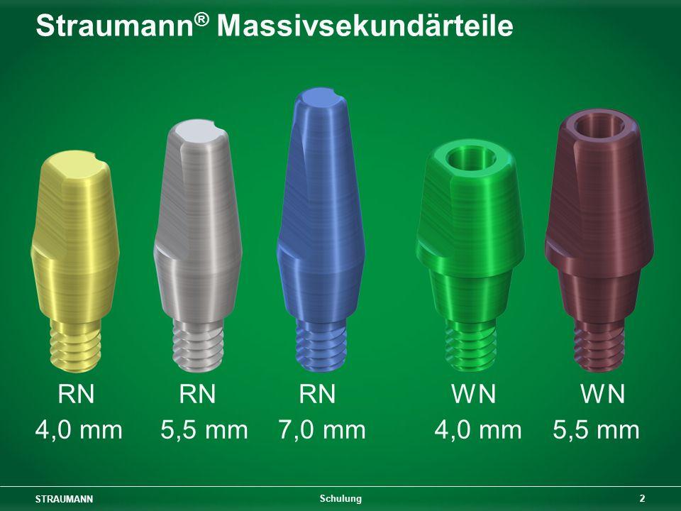 STRAUMANN 2 Schulung Straumann ® Massivsekundärteile RN RN RN WNWN 4,0 mm 5,5 mm 7,0 mm 4,0 mm 5,5 mm