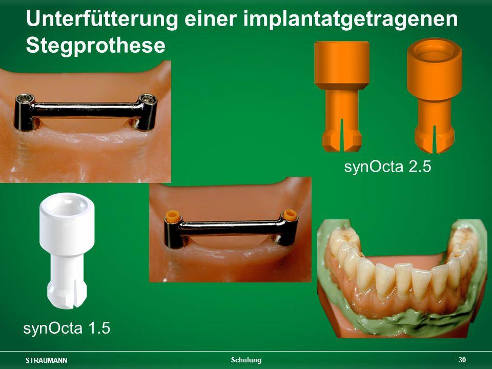 STRAUMANN 30 Schulung Unterfütterung einer implantatgetragenen Stegprothese synOcta 1.5 synOcta 2.5