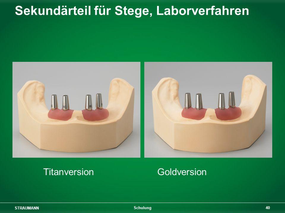 STRAUMANN 40 Schulung Sekundärteil für Stege, Laborverfahren TitanversionGoldversion