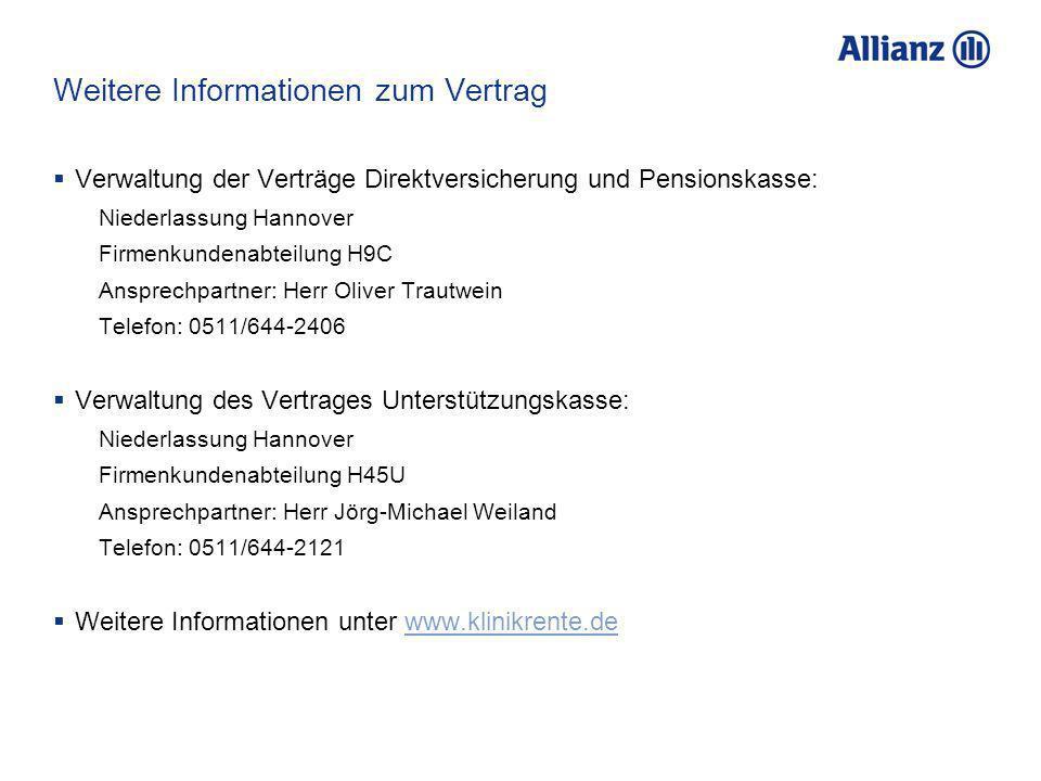 Weitere Informationen zum Vertrag Verwaltung der Verträge Direktversicherung und Pensionskasse: Niederlassung Hannover Firmenkundenabteilung H9C Anspr