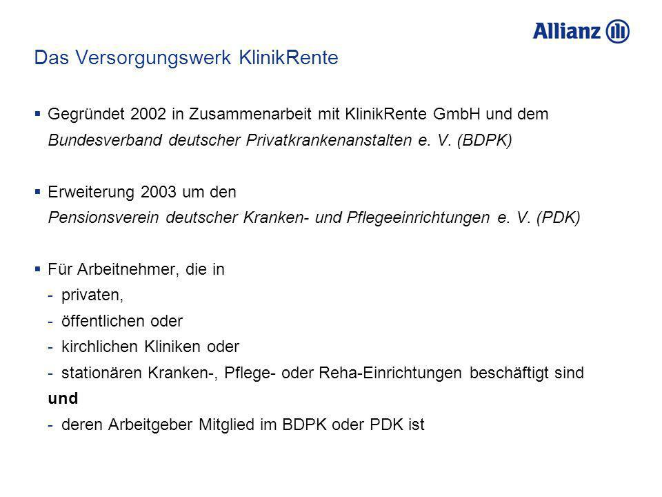 Das Versorgungswerk KlinikRente Gegründet 2002 in Zusammenarbeit mit KlinikRente GmbH und dem Bundesverband deutscher Privatkrankenanstalten e. V. (BD