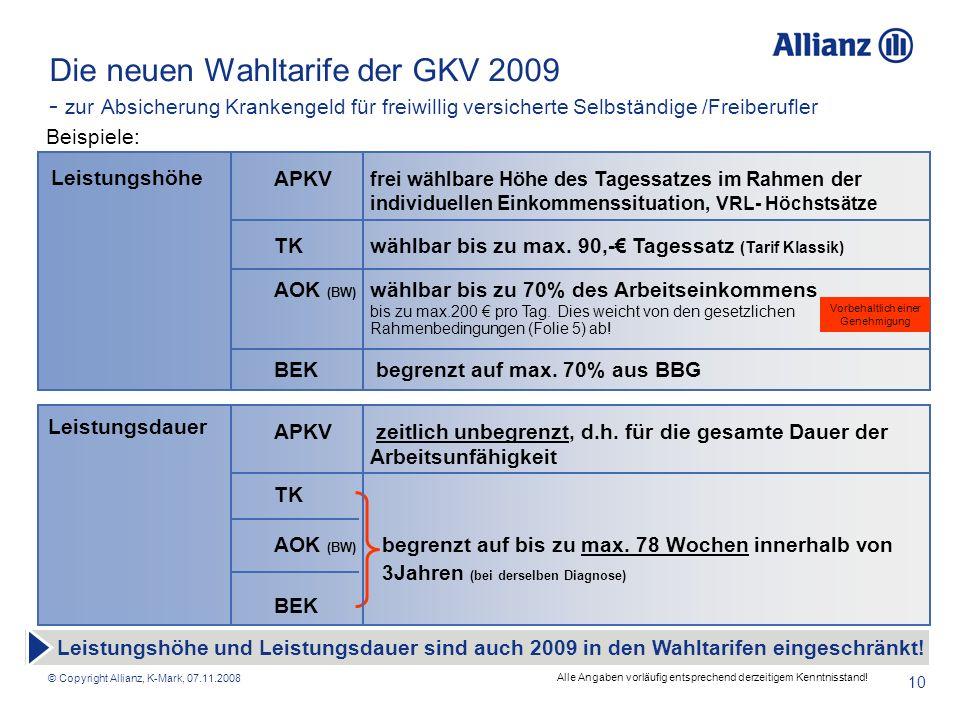 © Copyright Allianz, K-Mark, 07.11.2008 10 Die neuen Wahltarife der GKV 2009 - zur Absicherung Krankengeld für freiwillig versicherte Selbständige /Fr