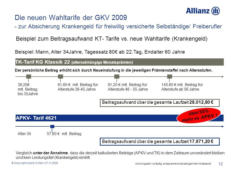 © Copyright Allianz, K-Mark, 07.11.2008 12 Die neuen Wahltarife der GKV 2009 - zur Absicherung Krankengeld für freiwillig versicherte Selbständige/ Fr