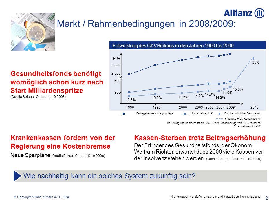 © Copyright Allianz, K-Mark, 07.11.2008 2 Markt / Rahmenbedingungen in 2008/2009: Wie nachhaltig kann ein solches System zukünftig sein? Kassen-Sterbe