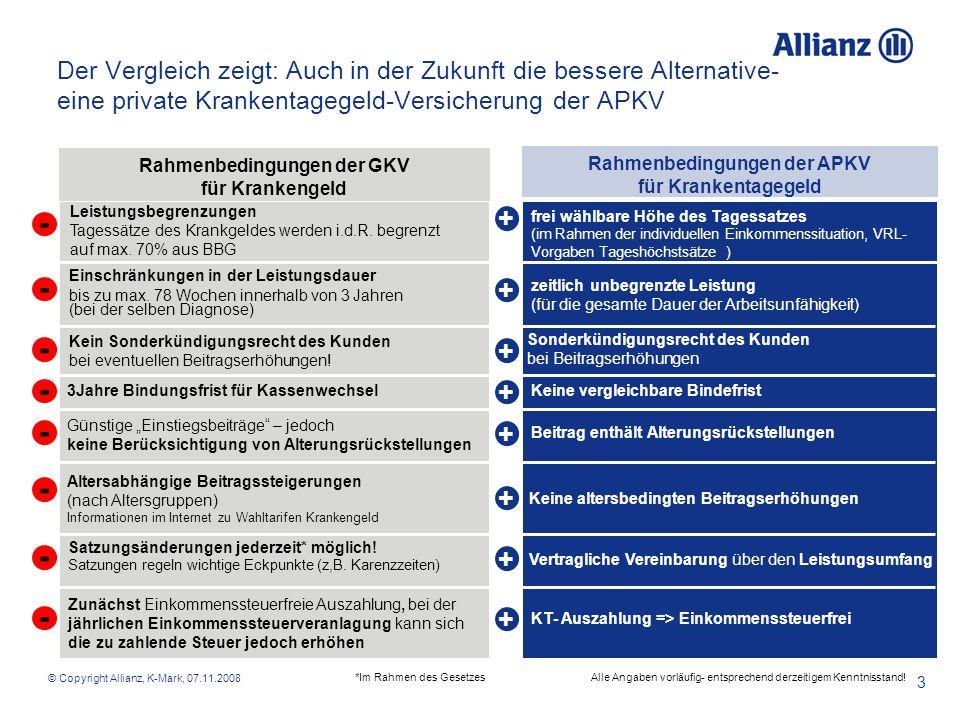 © Copyright Allianz, K-Mark, 07.11.2008 4 Vorteile der privaten Krankentagegeld-Absicherung bei der Allianz Verzicht auf Wartezeiten und Verzicht auf § 14* AVB- Kündigungen Befristet für Verträge mit Versicherungsbeginn 1.1.