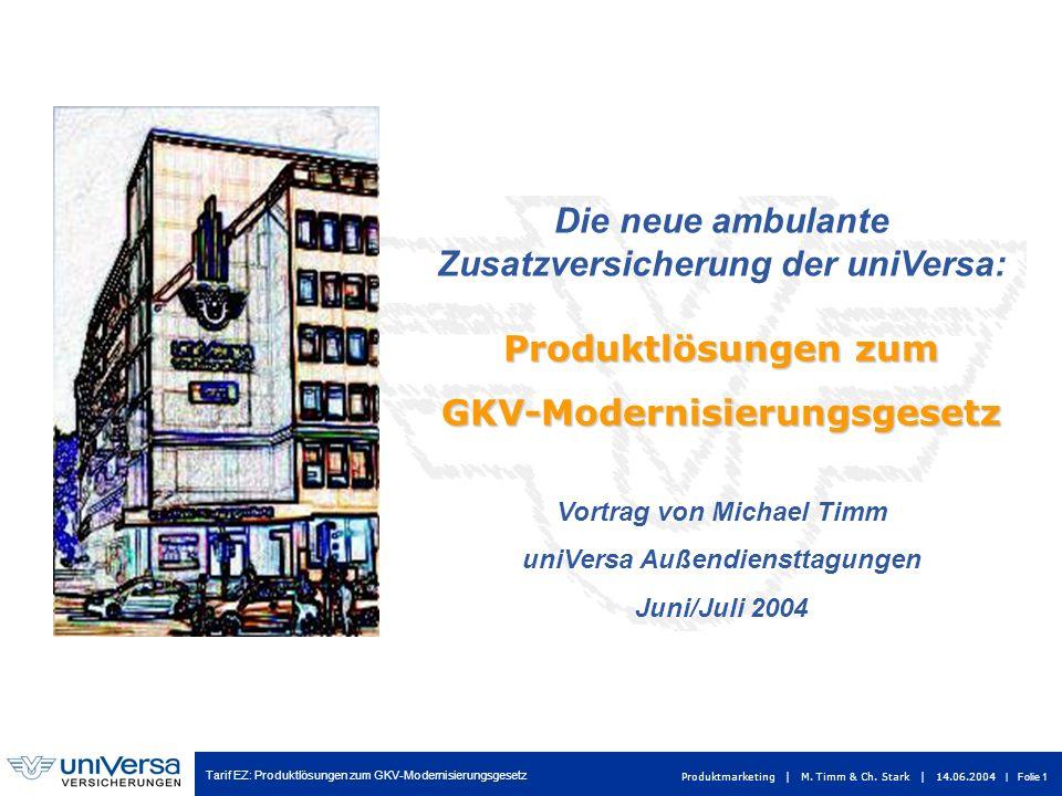 Tarif EZ: Produktlösungen zum GKV-Modernisierungsgesetz Produktmarketing | M. Timm & Ch. Stark | 14.06.2004 | Folie 1 Die neue ambulante Zusatzversich
