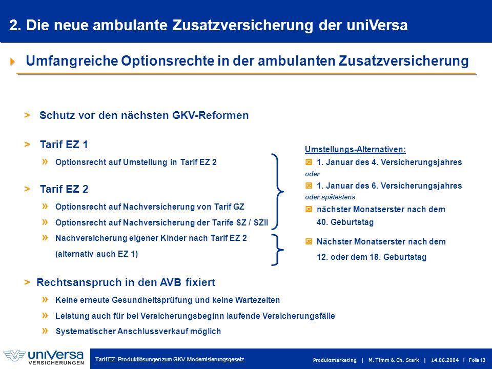 Tarif EZ: Produktlösungen zum GKV-Modernisierungsgesetz Produktmarketing | M. Timm & Ch. Stark | 14.06.2004 | Folie 13 Umfangreiche Optionsrechte in d