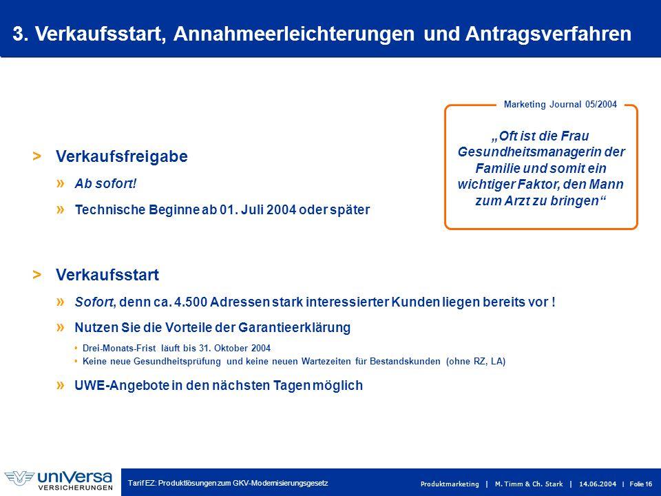 Tarif EZ: Produktlösungen zum GKV-Modernisierungsgesetz Produktmarketing | M. Timm & Ch. Stark | 14.06.2004 | Folie 16 > Verkaufsfreigabe » Ab sofort!