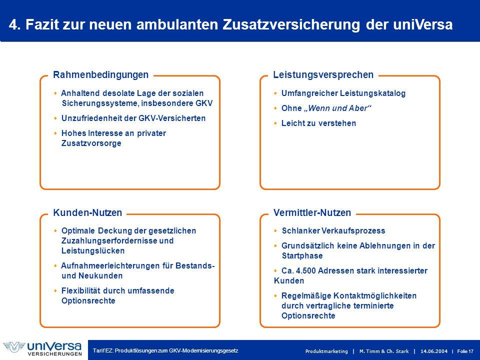 Tarif EZ: Produktlösungen zum GKV-Modernisierungsgesetz Produktmarketing | M. Timm & Ch. Stark | 14.06.2004 | Folie 17 4. Fazit zur neuen ambulanten Z