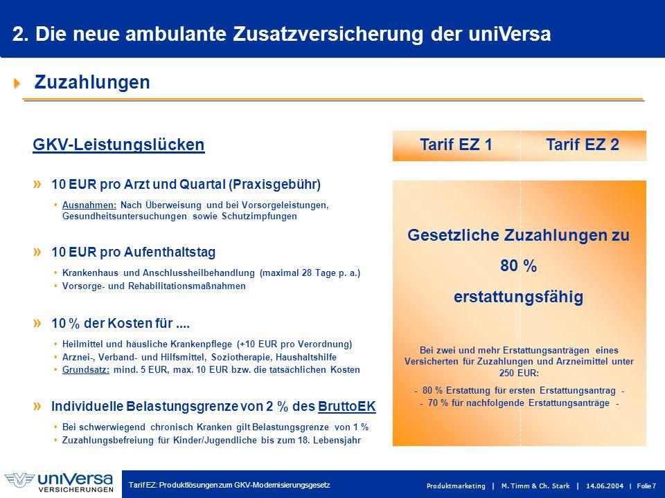 Tarif EZ: Produktlösungen zum GKV-Modernisierungsgesetz Produktmarketing | M. Timm & Ch. Stark | 14.06.2004 | Folie 7 Tarif EZ 1Tarif EZ 2 Zuzahlungen