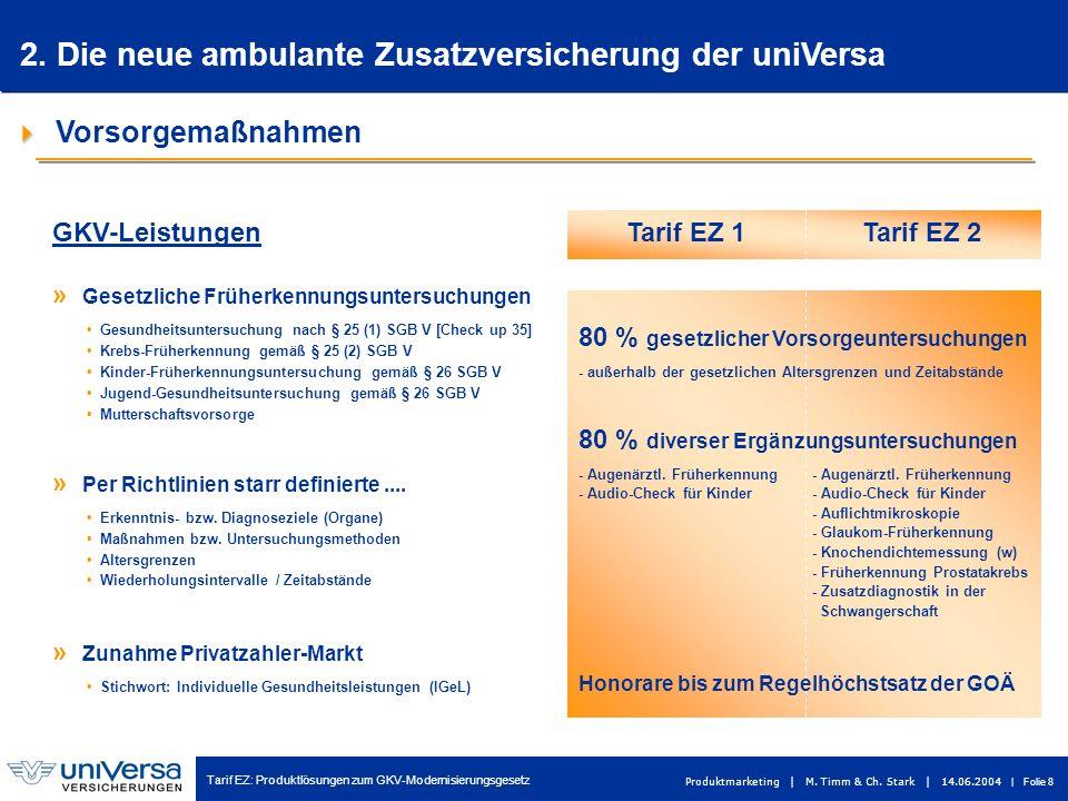 Tarif EZ: Produktlösungen zum GKV-Modernisierungsgesetz Produktmarketing | M. Timm & Ch. Stark | 14.06.2004 | Folie 8 Vorsorgemaßnahmen » Zunahme Priv
