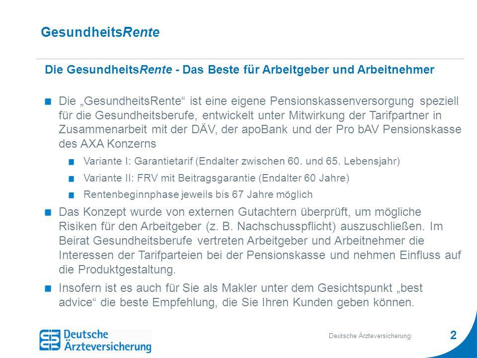 2 Deutsche Ärzteversicherung: GesundheitsRente Die GesundheitsRente - Das Beste für Arbeitgeber und Arbeitnehmer Die GesundheitsRente ist eine eigene Pensionskassenversorgung speziell für die Gesundheitsberufe, entwickelt unter Mitwirkung der Tarifpartner in Zusammenarbeit mit der DÄV, der apoBank und der Pro bAV Pensionskasse des AXA Konzerns Variante I: Garantietarif (Endalter zwischen 60.