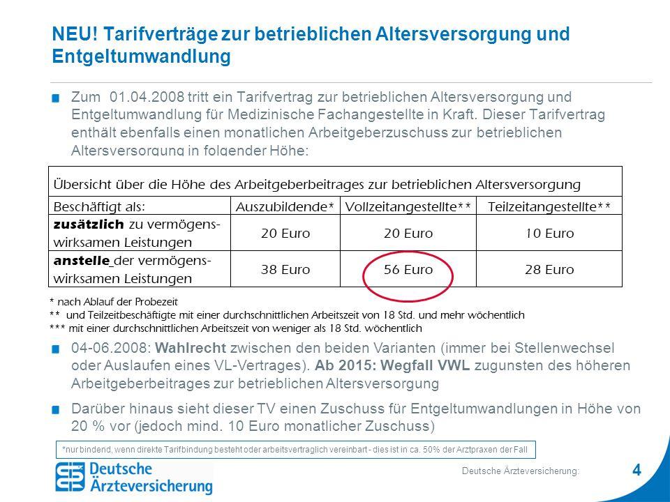 4 Deutsche Ärzteversicherung: NEU! Tarifverträge zur betrieblichen Altersversorgung und Entgeltumwandlung Zum 01.04.2008 tritt ein Tarifvertrag zur be
