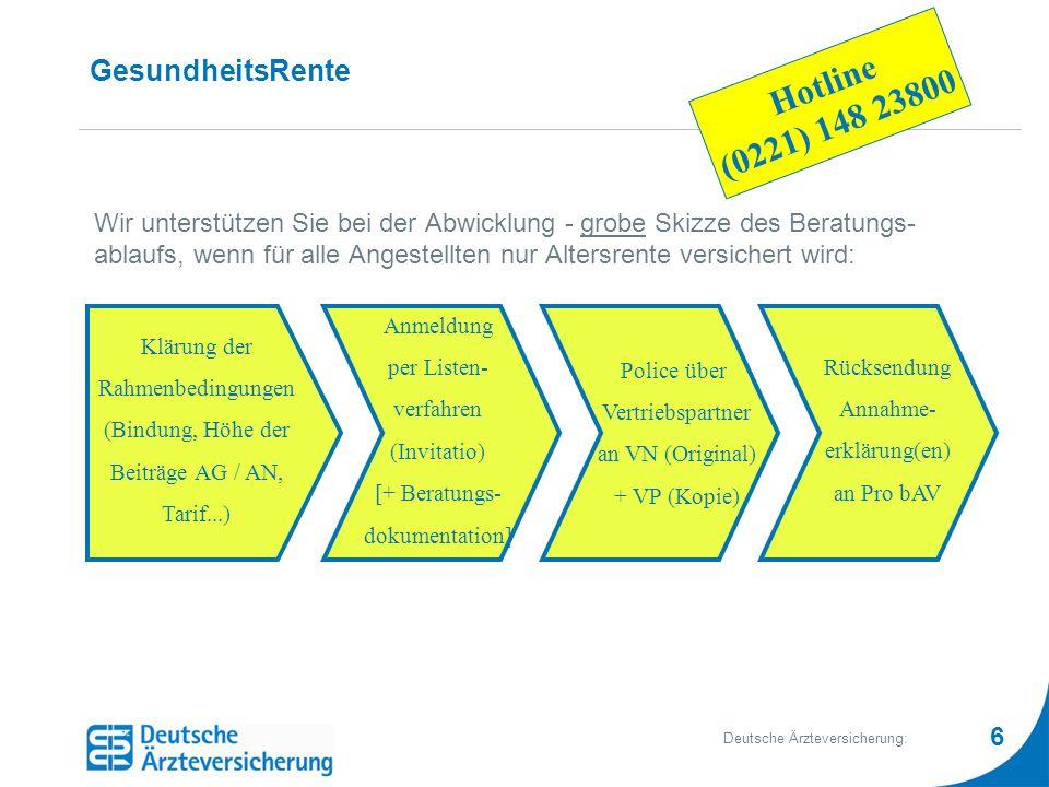 6 Deutsche Ärzteversicherung: GesundheitsRente Wir unterstützen Sie bei der Abwicklung - grobe Skizze des Beratungs- ablaufs, wenn für alle Angestellt