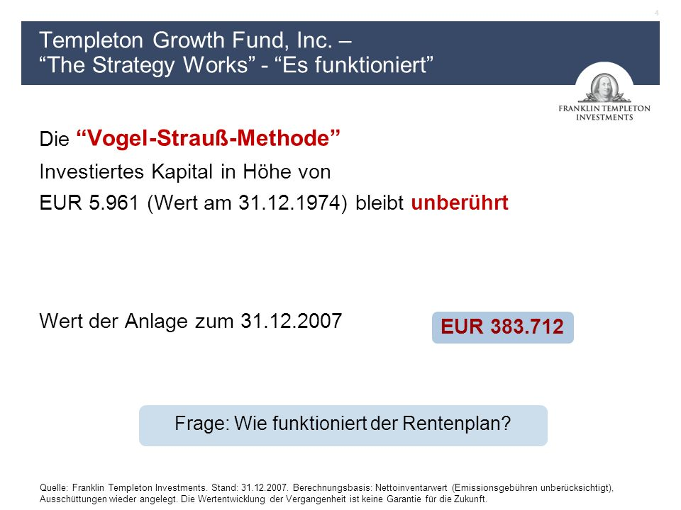 4 Quelle: Franklin Templeton Investments. Stand: 31.12.2007.