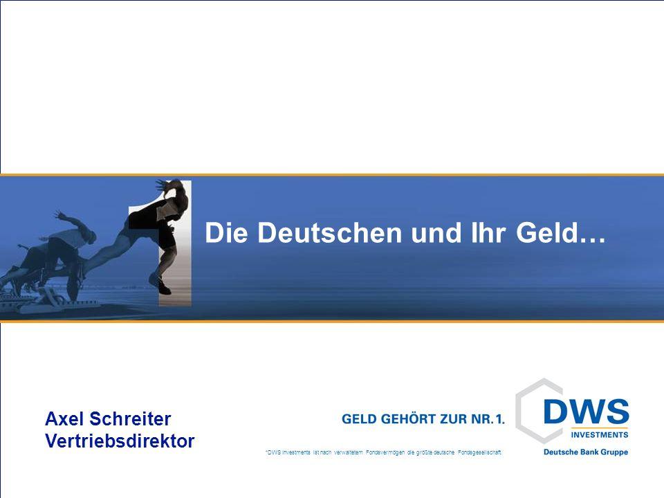 *DWS Investments ist nach verwaltetem Fondsvermögen die größte deutsche Fondsgesellschaft. Die Deutschen und Ihr Geld… Axel Schreiter Vertriebsdirekto