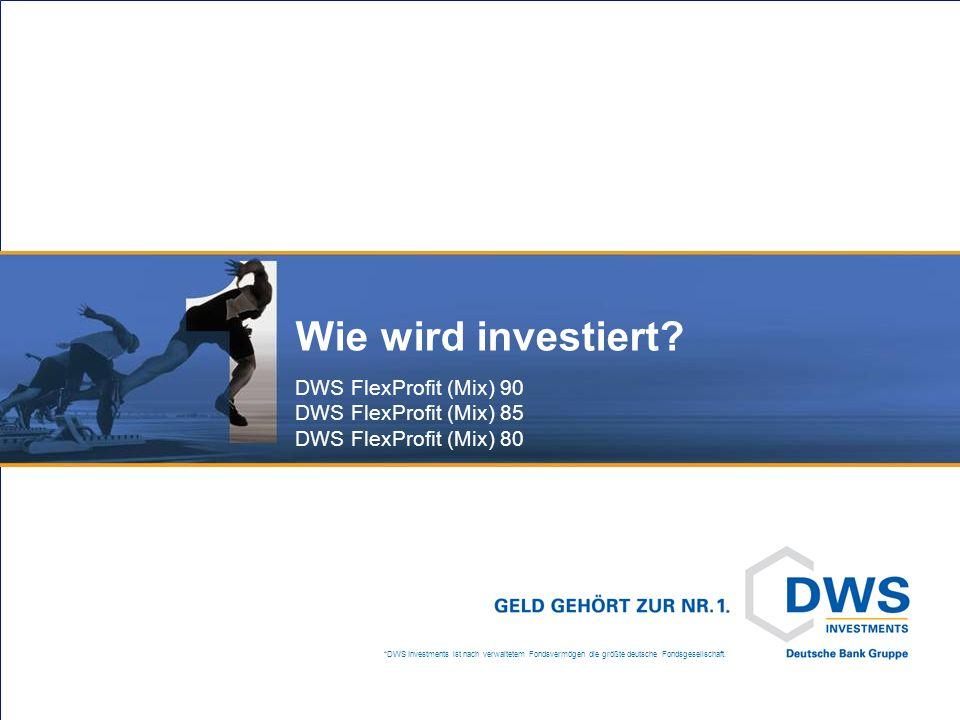 *DWS Investments ist nach verwaltetem Fondsvermögen die größte deutsche Fondsgesellschaft. Wie wird investiert? DWS FlexProfit (Mix) 90 DWS FlexProfit