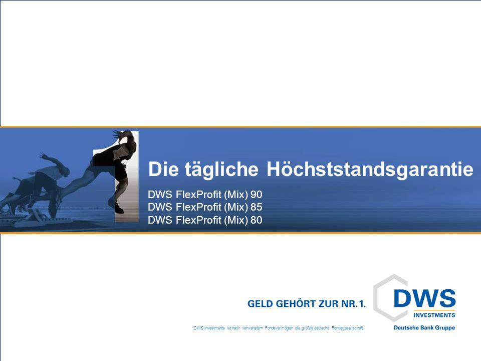 *DWS Investments ist nach verwaltetem Fondsvermögen die größte deutsche Fondsgesellschaft. Die tägliche Höchststandsgarantie DWS FlexProfit (Mix) 90 D