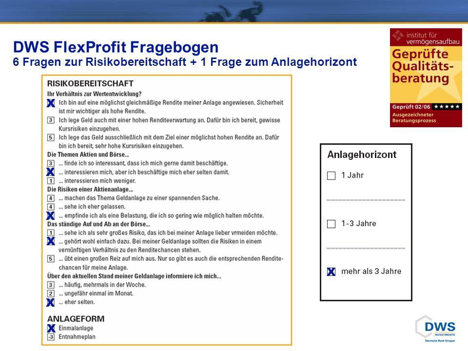 DWS FlexProfit Fragebogen 6 Fragen zur Risikobereitschaft + 1 Frage zum Anlagehorizont X X X X X X X