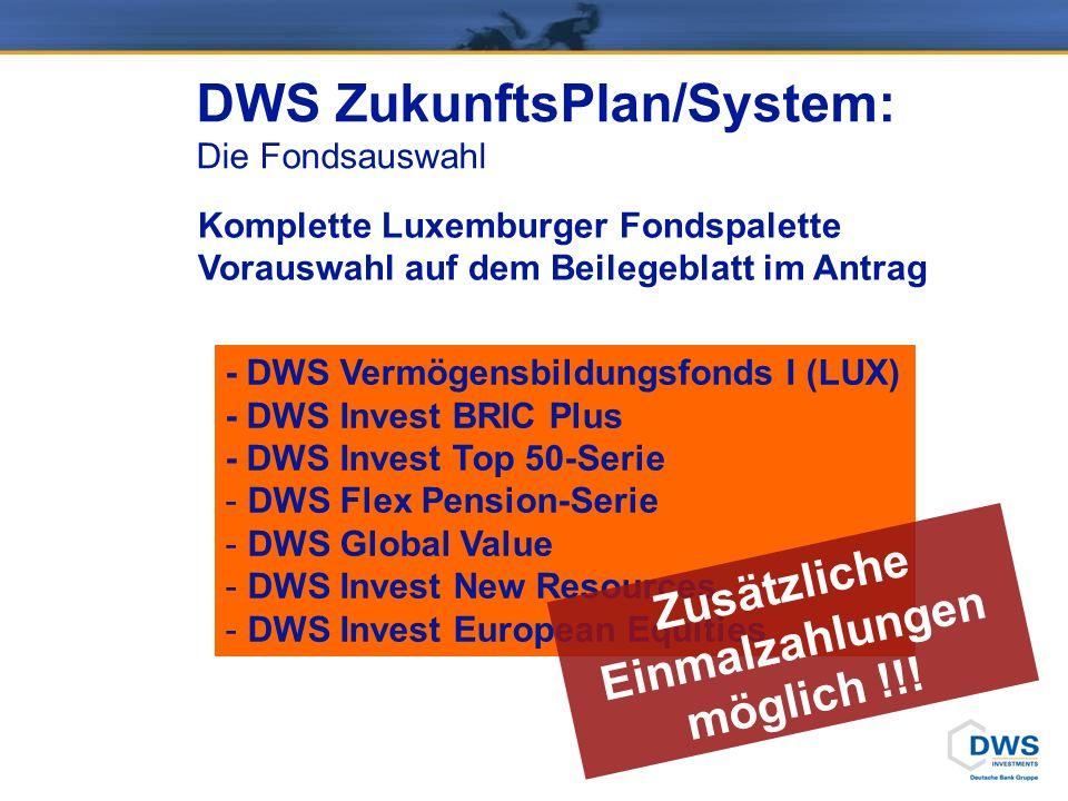 - DWS Vermögensbildungsfonds I (LUX) - DWS Invest BRIC Plus - DWS Invest Top 50-Serie - DWS Flex Pension-Serie - DWS Global Value - DWS Invest New Resources - DWS Invest European Equities DWS ZukunftsPlan/System: Die Fondsauswahl Komplette Luxemburger Fondspalette Vorauswahl auf dem Beilegeblatt im Antrag Zusätzliche Einmalzahlungen möglich !!!