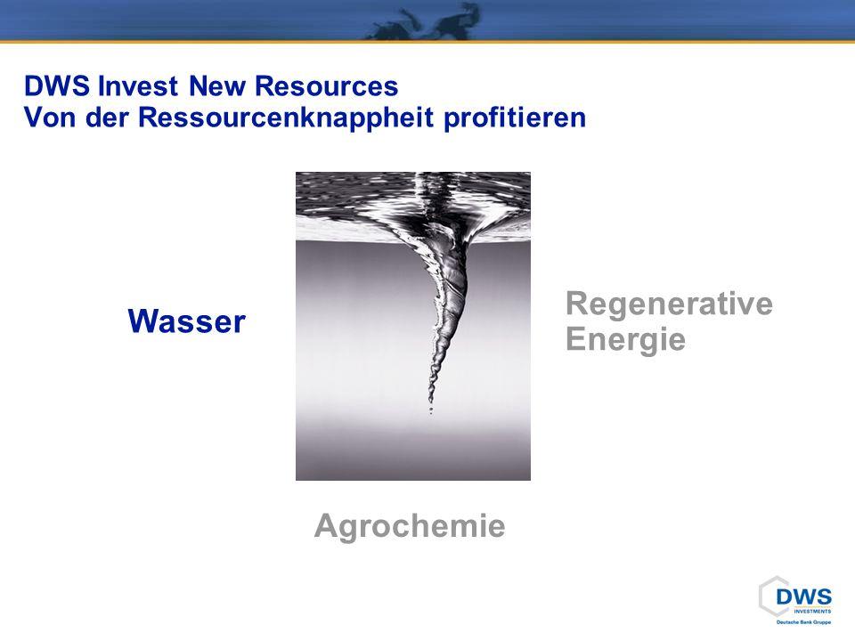 DWS Invest New Resources Von der Ressourcenknappheit profitieren Wasser Agrochemie Regenerative Energie