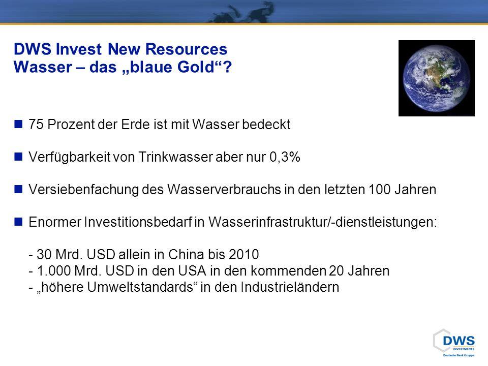 DWS Invest New Resources Wasser – das blaue Gold? 75 Prozent der Erde ist mit Wasser bedeckt Verfügbarkeit von Trinkwasser aber nur 0,3% Versiebenfach